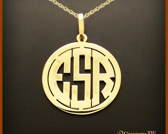 14kt. Gold Three Initial Cut Out Monogram , Initial Pendant/ 3 letter pendant/ Hand Made block letters / Made in USA