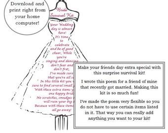 Bride Survival Kit, Poem, Wedding Gift, Digital Download, Dress form, Bridesmaid gift, Bridal, Bride survival kit, instant download