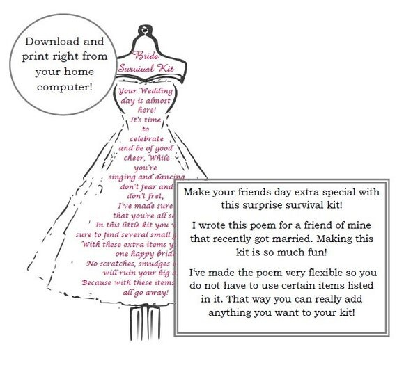 Dress Form Bride Survival Kit Poem Wedding Gift by ...