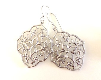 Silver Medallion Drop Earrings, Filigree Silver Dangle,