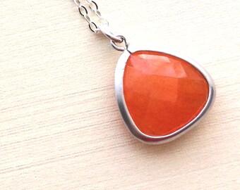 Bridesmaids Necklace, Orange Jade Sterling Silver Chain Necklace, Orange Necklace