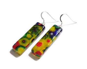 Artisan Glass Earrings in Flowers in Bloom Series - One of a Kind