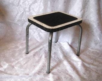 Mid century aluminum chrome stool, formica top, stepping stool, metal stool, industrial stool