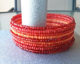 Red and Orange Memory Wire Cuff Bracelet