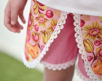 Summer Days Petal Shorts pattern - wrap shorts/skort - PDF pattern - child sizes 1 to 12 years