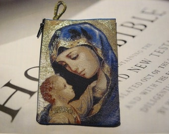 Woven Rug Rosary Pouches (wallet) , Rosary Cases. (Jesus) , Mother Mary Jesus