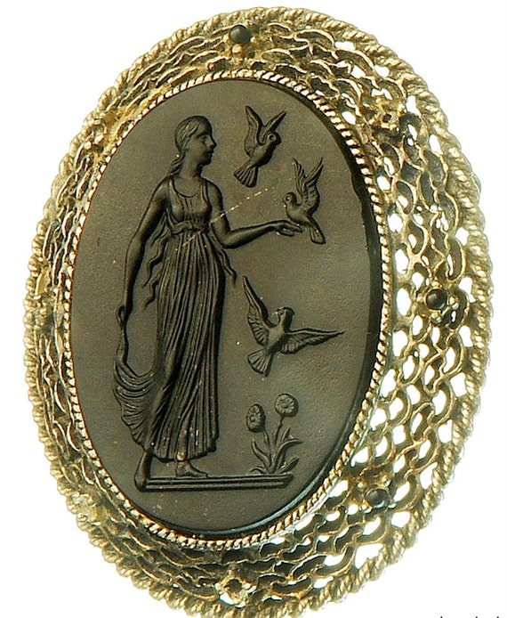 Black glass mourning brooch cameo pin pendant old vintage