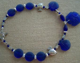 royal blue seaglass necklace