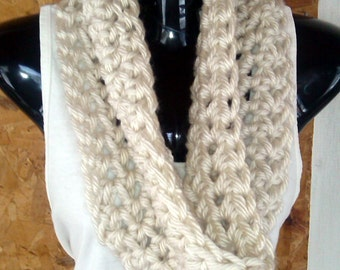 Crochet Infinity Scarf in Cream - Ready to Ship