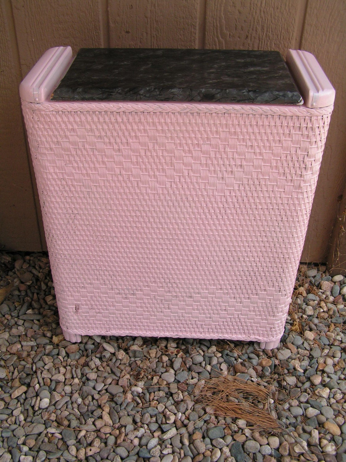 Vintage pretty in pink and gray wicker hamper basket cottage chic laundry storage clothes hamper - Wicker clothes hamper ...