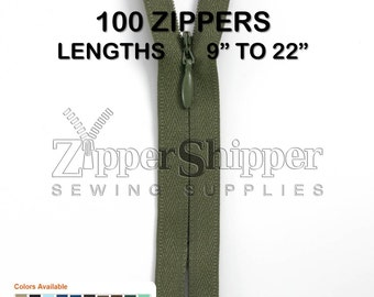 """Wholesale Invisible Zippers, Lengths 9"""", 14"""" or 22"""", #2 Closed End In Many Colors, For Dresses, Skirts, Pillows +More, 100 Pieces"""