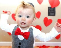 Baby Boy Clothes - Baby Bow Tie With Vest - First Christmas  Outfit - Red Bow Tie - Coming Home Outfit - Ring Bearer - Boys Wedding