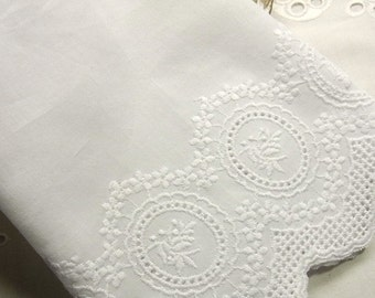 1yard Embroidery Cotton Eyelet Lace Trim 17.5cm Wide White Fabric #319