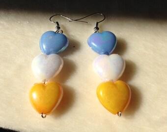 Heart Drop Earrings, Heart Earrings, Heart Jewellery, Heart Shape Earrings, Beaded Earrings, Beaded Jewellery, Love Earrings, Love Jewellery