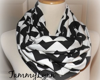 Black & Cream Chevron Infinity Scarf Jersey Knit Double Loop Cowl Women Tammy Lynns Creations
