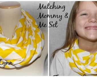 Mommy & Me Yellow and White Chevron Infinity Scarf Scarves Jersey Knit Women's Girls Accessories
