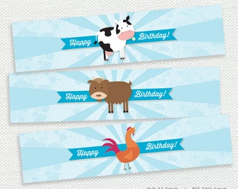 Printable Water Bottle Labels - Farm Animal Birthday Party