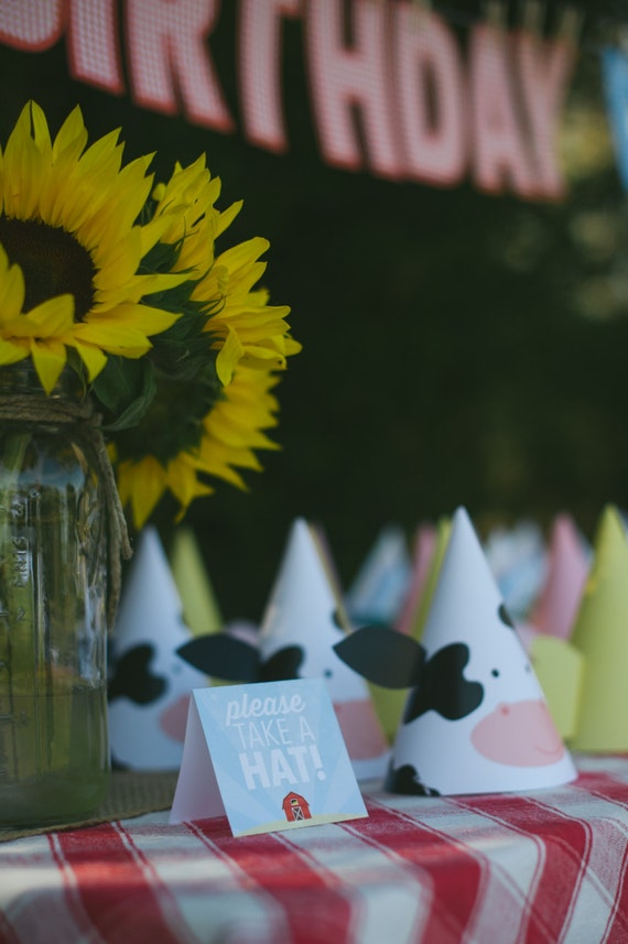printable party hats farm animal birthday by printsforevents