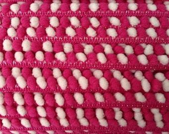 1 yard ribbon pom pom trim dark pink and cream