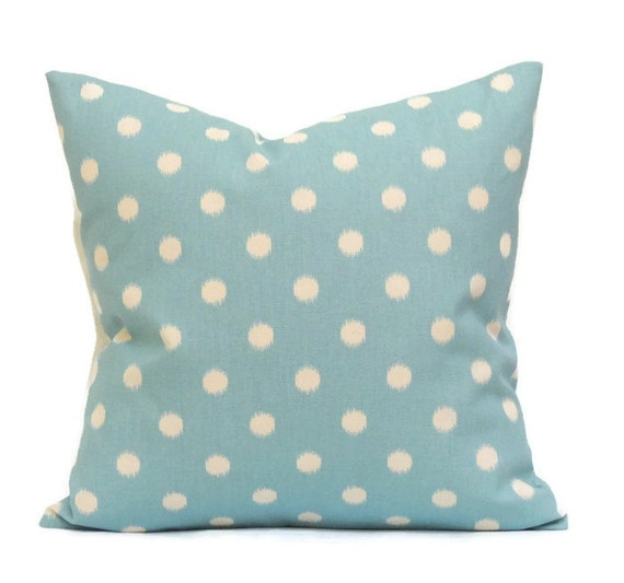 Blue Ikat Pillow, 16x16 Pillow Cover, Accent Pillows, Decorative Pillow, Cushion Cover, cm, Ikat Dots Arctic Blue Natural