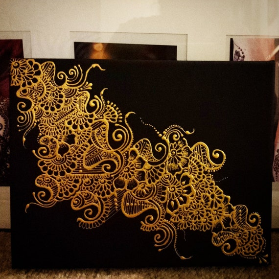 Henna designs canvas for Black canvas painting ideas