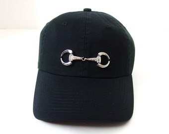 Bling Horse D Bit Black Baseball  Cap - Equestrian Snaffle Bit Ball Cap Famous
