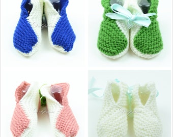 Set of 4 pairs of Crochet baby booties shoe handmade knitting shoes for Newborn - 6 months babies