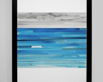 Art Print, Abstract Painting, Watercolor, Collage - Blues and Grays - modern art