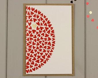 Love hearts Screenprinted greetings card