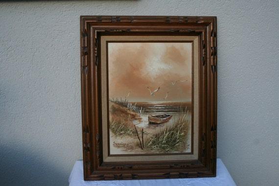 Vintage Sandler Original Signed Oil On Canvas Paintingsea