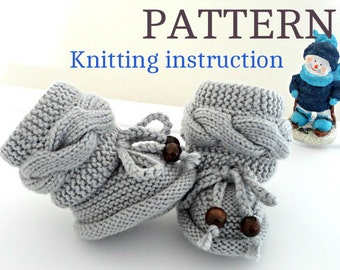 Knitting P A T T E R N Baby Booties Baby Shoes  Knitted Baby Booties Knit Pattern Baby Booty Baby Uggs Patterns Baby Boots ( PDF file )