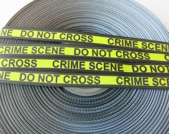 """5 yards of 3/8 inch """"Crime scene"""" grosgrain ribbon"""