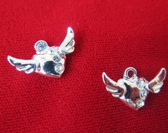 "8pc ""Angel wings"" charms in antique silver style(BC382)"