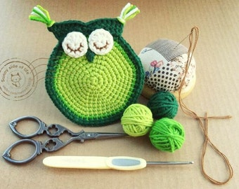 Crochet owl coaster  PATTERN - INSTANT DOWNLOAD