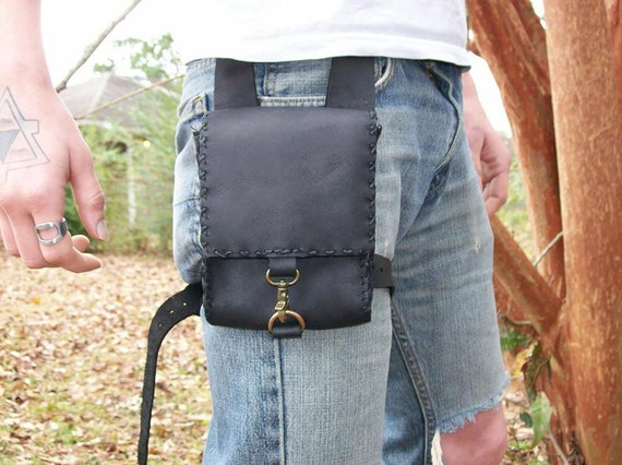 Black Leather Adventure Pouch Belt Pouch By Homegrowngifts