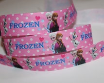 "1 Yard of Pink Polka Dots Frozen 7/8"" Grosgrain Ribbon"