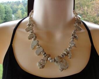 Howlite slab bead necklace, howlite nugget necklace