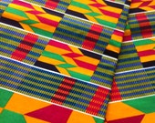 Graphic abstract colourful kente cloth, yellow, green, blue, red one yard