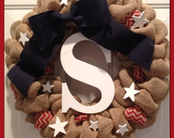 WINTER SPECIAL!! Patriotic Wreath- Fourth of July Wreath- Burlap Wreath- Memorial Day Wreath- Red, White & Blue