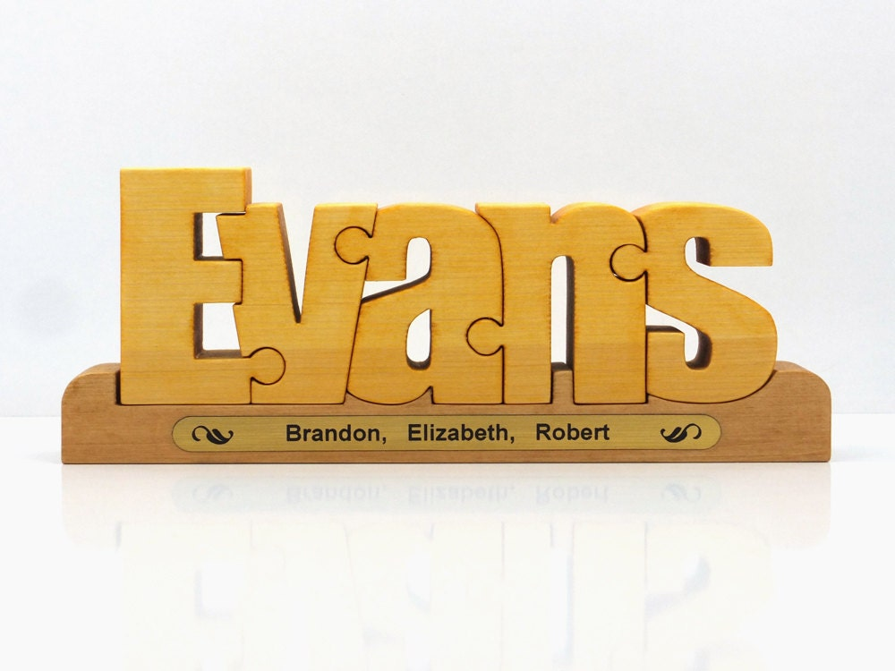 personalized family gift wooden name puzzle