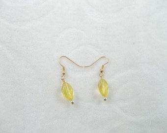 Yellow Swirl Dangle Earrings