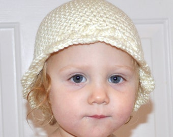 PRETTY SCALLOP EDGED Baby Beanie Hat Classy Photo Prop Preemie Newborn Infant Beautiful Classy Vanilla Off White Acrylic Yarn Knit Crochet