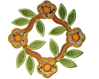 "Flower Wreath Applique Machine Embroidery Design Pattern for larger hoops. 6"",7"" and 8"", not for smaller hoop sizes."