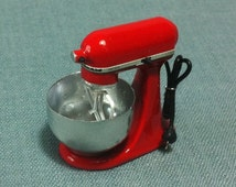 Kitchen Aid Mixer Miniature Red Accessory Kitchenware Supplies Tiny Small Bakery Cooking Dollhouse Food Display Hand Made Resin Decoration