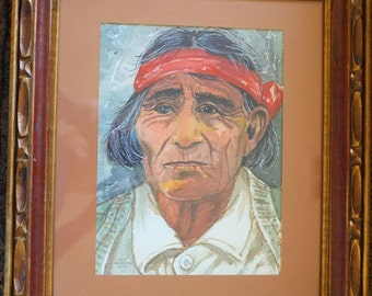 Water Color Painting of Native American Cochise by John Nosrettap 1970