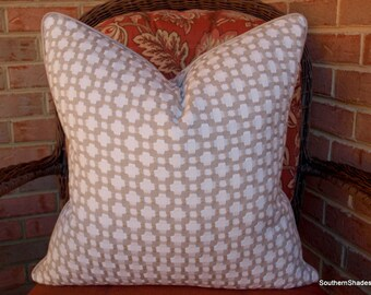 Both Sides - ONE Schumacher Betwixt Stone White Pillow Covers with Self Cording