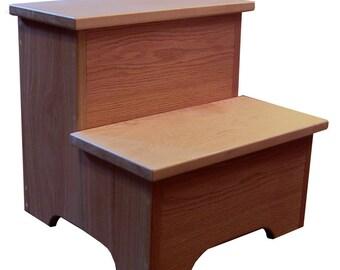 solid wood step stool with storage. Black Bedroom Furniture Sets. Home Design Ideas