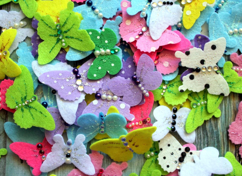 How to make scrapbook decorations - Scrapbook Embellishments 10 Beautiful Butterflies Felt Scrapbooking Embellishment Invitation Making Birthday Party Wedding Scrapbook