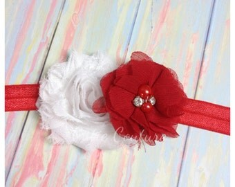 Red and white Headband, Valentine's Day Headband, red Christmas Headband, red Headband, white headband, red Flower Headband, Red Clip