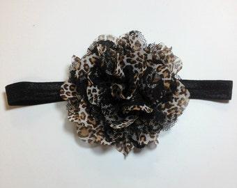 Leopard Headband, Black Headband, Brown Headband, Brown and Black Leopard Headband, Leopard flower headband, leopard flower clip